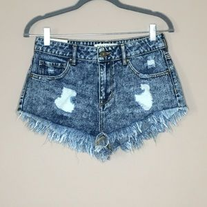 Washed out Bullhead high rise shorts